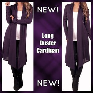 Long Sleeve Open Front Duster Cardigan Sweater